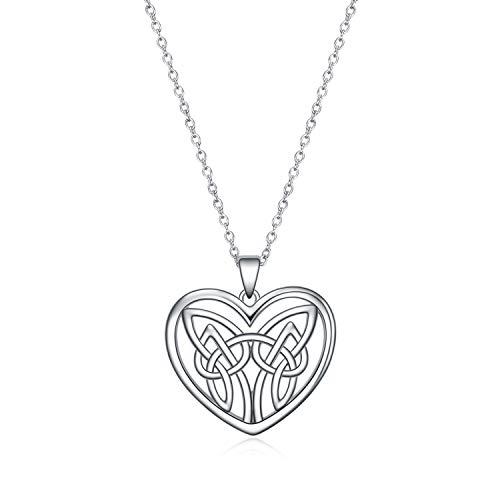 POPLYKE Celtic Jewelry for Women Sterling Silver Celtic Knot Love Heart Pendant Necklaces for Women