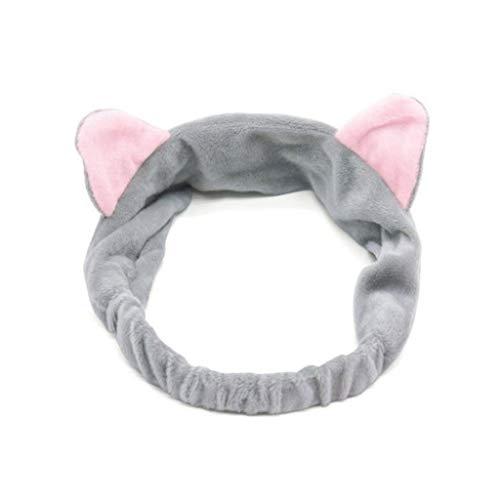 Haobase 1 Stück Stirnband-Haarband mit Katzenohr für Gesichtswäsche oder Make-up (Grau)