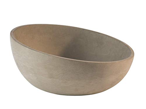 """APS Schale """"Element"""" – Hochwertige Schale aus Beton mit möbelschonender Unterseite – Stapelbar und mit der Abmessung Ø: 29,5 x H: 8,5 cm / 14,5 cm für 2,5 Liter, rund und abgeschrägt"""