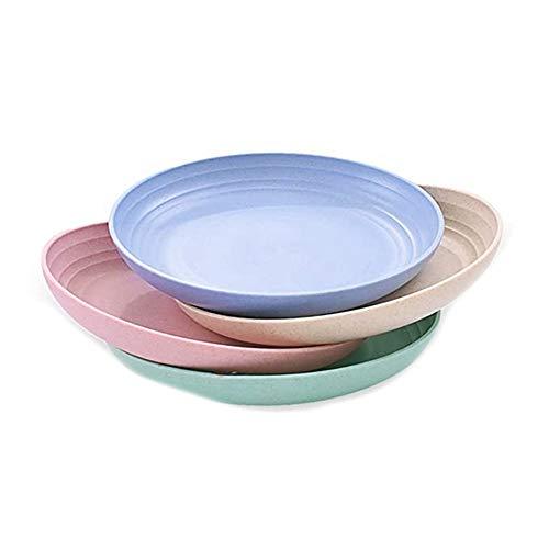 Kaxofang Platos de Comidas Profundos de Paja de Trigo de 10 Pulgadas, Aptos para Microondas y Lavavajillas, Platos de Plástico Resistentes Irrompibles