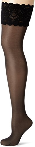 Wolford Damen 21223 Halterlose Struempfe, Frauen Struempfe,Stay-Up,transparent,Spitze.5280 admiral,Medium (M)