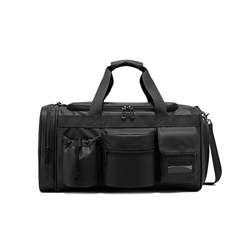 Gyubay Travel Duffel Bag Men's Waterproof Oxford Cloth Fashion Leisure Travel Bag Portable Dry and Wet Separation for Traveling Business Trip (Color : Black, Size : 45x26x25cm)