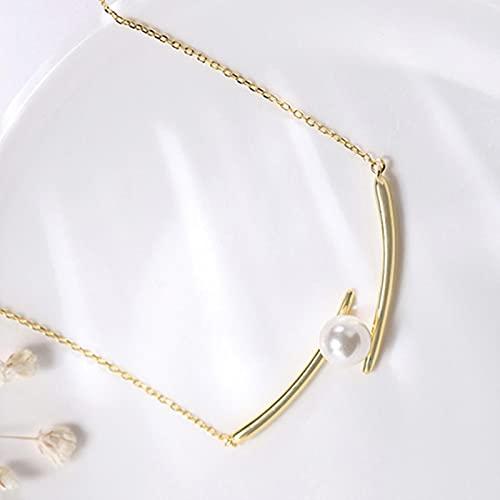 ZHIHUIYU Collar de Perlas de Plata de Ley 925 para Mujer, Cadena de clavícula Creativa de Moda, joyería de Simplicidad para Mujer