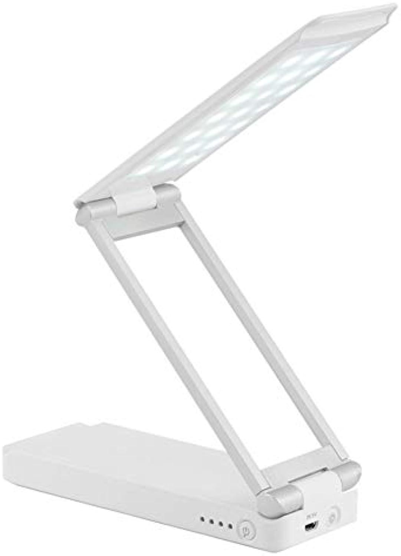 Ruitx LED Tischleuchte Doppel USB Portable Schreibtischlampe Faltbares Leselicht Einstellbare Augenpflege Nachladen für Büro Wohnzimmer Schlafzimmer