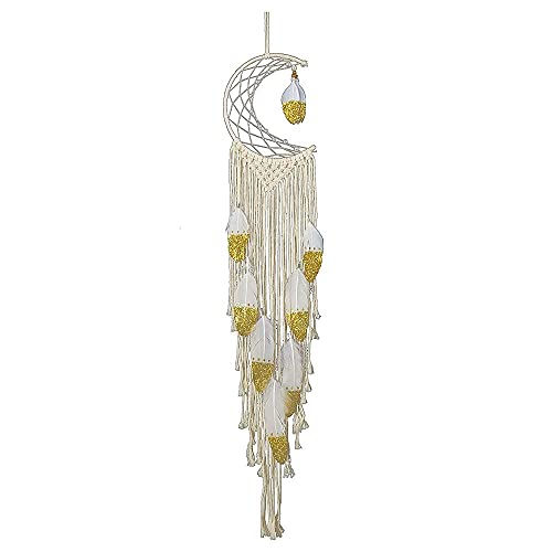 H-BEI Macrame Hand-Woven Wall Hanging Tapestry,Moon-Shaped Dream Catcher, Bohemian Style Spray Gold Feather Tassels,Soft Outfit Craft Gift