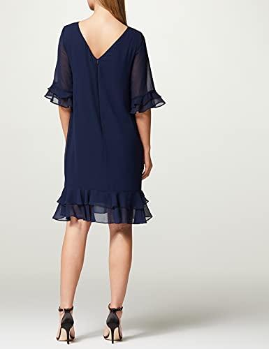 Marca Amazon - TRUTH & FABLE Vestido Midi Evasé de Gasa Mujer, Azul (Navy), 40, Label: M