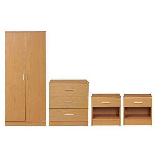 MMPTN 4 Stück Schlafzimmermöbel Set Kleiderschrank Brustschubladen 2 Nachttisch Buchen,Wood Color