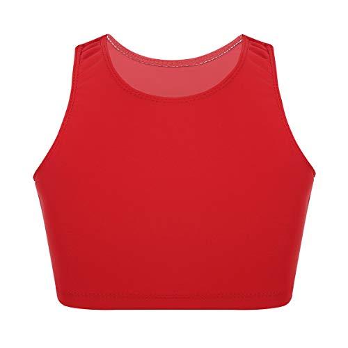 YiZYiF Crop Top Danza Niñas Sujetador Deportivo Camiseta Yoga Gimnasia Ballet Chaleco Corto Ropa Deportiva Workout Tankini Tops Running Fitness 6-14 Años Rojo 14 Años