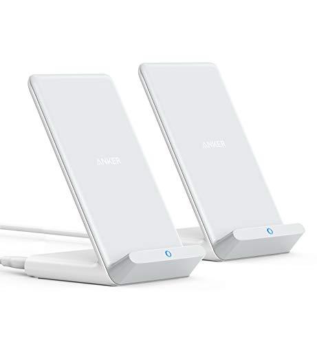Anker PowerWave Ladeständer im Doppelpack, kabelloses Ladegerät,7.5W für iPhone 11 11 Max Xs Max XR XS X 8 8Plus,10W Schnellladungen für Galaxy S20/ S10 / S9 / S8, Note 10, Netzteil Nicht inklusive