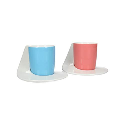 AmaCasa Espressotassen mit moderner Untertassen/Unterteller, Porzellan, weiß blau rot, D12/6cm H6cm