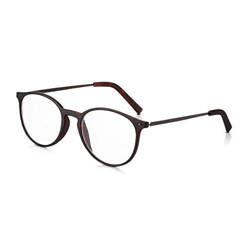 Read Optics +3,5 Dioptrien runde Lesebrille für Herren/Damen: Vintage Brille mit dunklem Schildpatt Rahmen aus Polykarbonat und dünnen Metall-Bügeln. Leicht, stabil und mit klaren Gläsern mit Stärke