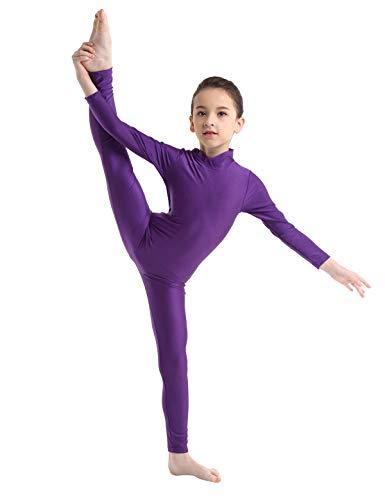 Inlzdz Kinder Mädchen Lycra-Langarm-Tanzanzug Gymnastikanzug Ganzkörperanzug Catsuit Tanzbekleidung Kostüme 7-8 Jahre violett