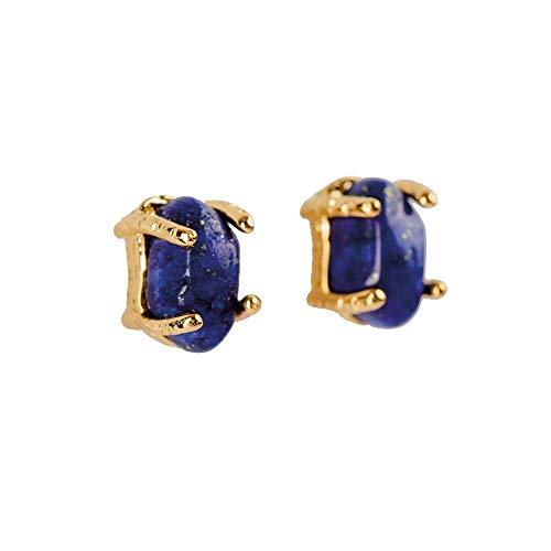 LuckyLy – Aretes de Oro Mujer – Aretes de Mujer con Piedras Naturales Ivy – Estructura con Baño de Oro – Piedra Natural...