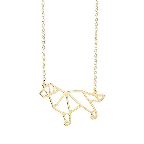 Collar 1 pieza lindo origami perro colgante collar hueco mascota perro animal cadena larga collar mujeres encanto collane adornos regalo para mujeres hombres regalos colgante collar regalo para mujere