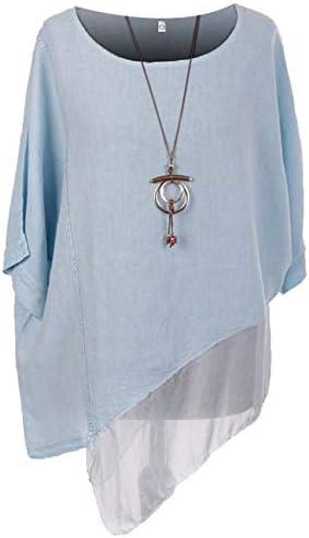 Ladies Italian Asymmetric Necklace Top Womens Lagenlook Linen Top Chiffon Hem