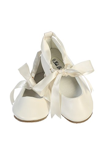 Ballerina Ribbon Tie Rubber Shoes Cinderella Flats with Flower Toddler Party Ivory Size 12