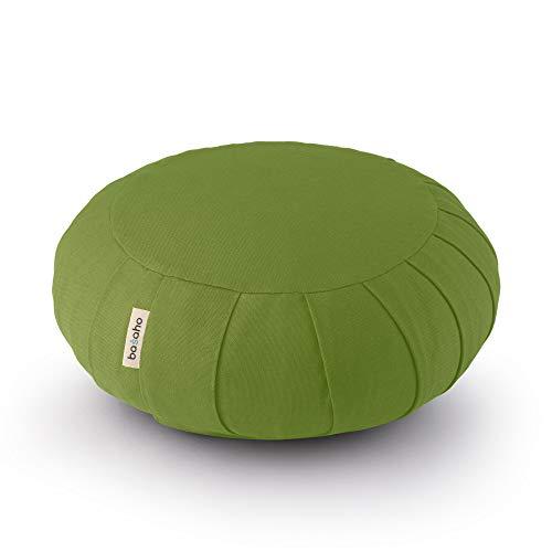 basaho Classic Zafu Cuscino da Meditazione | Cotone Organico (Certificato GOTS) | Gusci di Grano Saraceno | Rivestimento Lavabile Rimovibile (Foglia)
