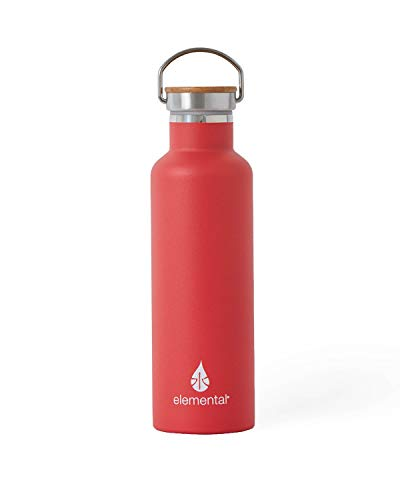 Reusable Stainless Steel Water Bottle 25 oz, Double Insulated Water Bottles that Keep Your Drink Cold for 24 Hours and Hot for 12 Hours, White Marble Water Bottle - Elemental