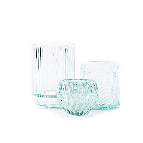 KerzenhalterTeelichthalter Windlicht | knuellermarkt24.de | 3er Set hellblau Glas Frühling Deko Hochzeit Tischdeko