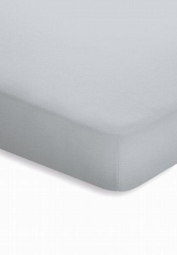 schlafgut Jersey-Elasthan Topper Spannbetttuch, Baumwoll-Mischgewebe, Platin, 220 x 200 cm