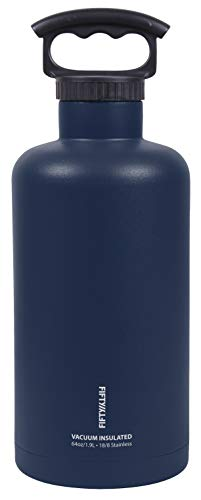 FIFTY/FIFTY V65001NB0 Growler, Double Wall Vacuum Insulated Water Bottle, Stainless Steel, 3 Finger Cap with Standard Top, 64 oz./1.9L, Navy