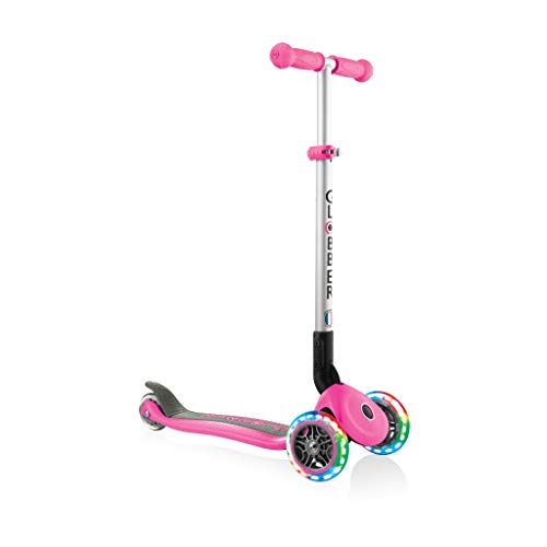 Globber Primo Foldable Lights, Pink mit Leuchtrollen Patinete, Niñas, Rosa, Talla única