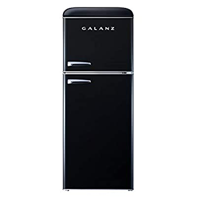Galanz GLR46TBKER Retro Compact Refrigerator, 4.6 Cu.Ft Mini Fridge with Dual Door, Adjustable Mechanical Thermostat with True Freezer, Cu Ft, Black