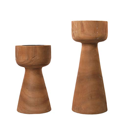 """Athaliah Wood Taper Candle Holders for Pillar Candles Festival Table Decorations Table Decor 11.5"""" 8.5"""" Brown Wooden Candlestick Holder Christmas Centerpiece Table Decorations Coffee Table Decor"""