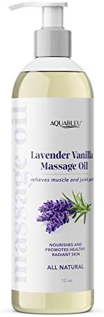 Aquableu s Lavender Vanilla Massage Oil Therapy Grade Essential Oils at Home Massage Therapy product image