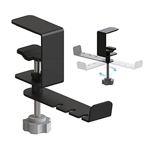 Eventualx Soporte para auriculares de 360 grados, ajustable, de aluminio, soporte para auriculares bajo el escritorio, para juegos, con pinza ajustable para auriculares
