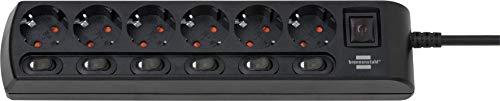 Brennenstuhl regleta de enchufes con 6 tomas de corriente y interruptores individuales (6 interruptores iluminados independientes, cable de 2 m) negro