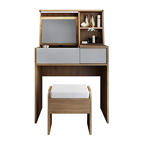 Modern Dressing Table for Girls Women, Mini Makeup Table with Drawers Vanity Table with Flip Top Mirror And Comfortable Stool, 2-In-1 Makeup Dressing Table for Floating Windows