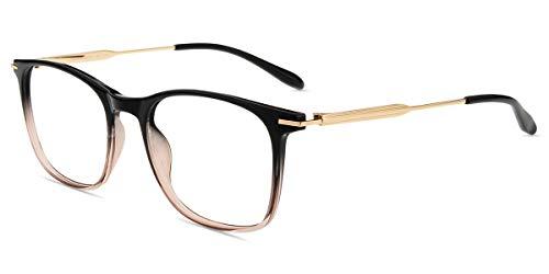 Firmoo Gafas para Ordenador Anti luz Azul,Evita la Fatiga Ojos, Gafas PC UV Luz Filtro Protección Azul Mujer Hombre para Antifatiga, S3500 Negro Marrón