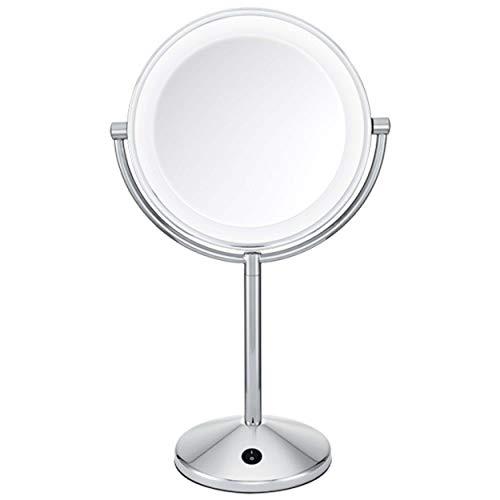 BaByliss 9436E Espejo de maquillaje, doble cara, aumento x1 y x10, iluminación LED, funcionamiento con pilas, color cromado