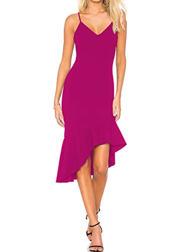 CMZ2005 Womens Backless Adjustable Spaghetti Straps Mermaid Dress Sexy V Neck Ruffles Cocktail Party Dresses 71995 (Rose Red, m)