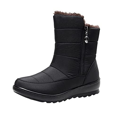 RTPR Botas planas de invierno para mujer, forradas, impermeables, antideslizantes, ligeras, cómodas, cortas, para caminar, Negro , 40 EU