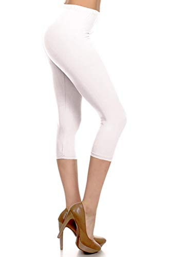 NCPRX128-White Capri Solid Leggings, Plus Size