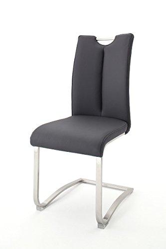 2er Set Freischwinger, Stühle, Schwingstuhl, Schwinger, Küchenstuhl, Sitzgelegenheiten, Besucherstuhl, Wartezimmerstuhl echt Leder schwarz...