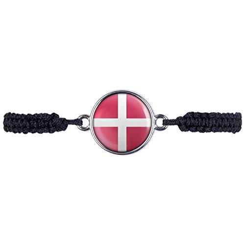 Mylery Armband mit Motiv Dänemark Denmark Kopenhagen Flagge Silber 16mm