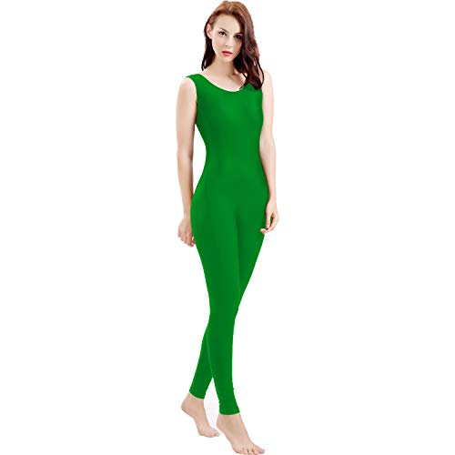 Gaibest Women Lycra Spandex Sleeveless Tank Dance Unitard Bodysuit green