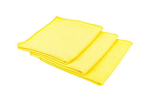 The Rag Company - Standard Waffle Weave Towels, Microfiber Detailing, Window/Glass and Drying, Wax & Polish, Lint-Free, Streak-Free, 370gsm, 16in x 16in, Yellow (3-Pack)