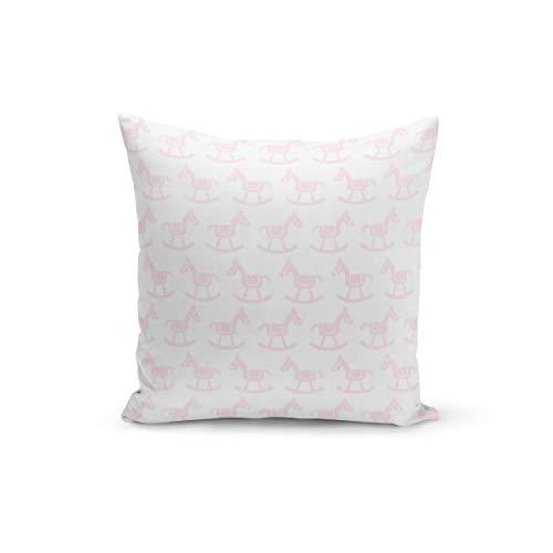 Funda de cojín con cierre de cremallera invisible, diseño de caballo balancín, color blanco, color rosa