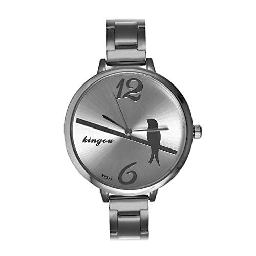 HehiFRlark Reloj de Moda con Esfera de patrón de pájaro pequeño K6011 Reloj de Mujer Informal de Lujo Plateado K6011
