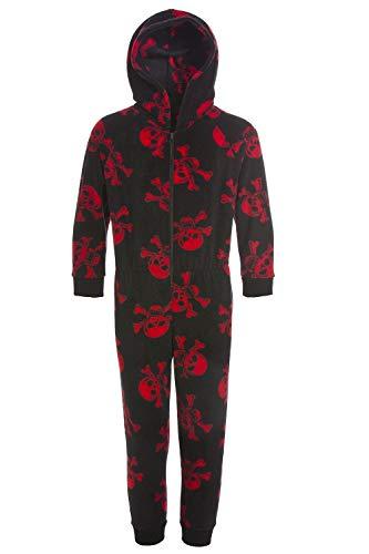 CAMILLE Strampler-Pyjama-Sets für Kinder mit Mehreren Aufdrucken 12-14 Years Black Red Skull