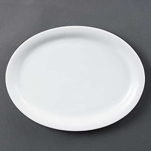 Olympia Whiteware Plats Ovales en Porcelaine Blanche 295mm - Assiettes Entièrement Vitrifiés - Résistant à Chaleur et Chocs - Paquet de 6