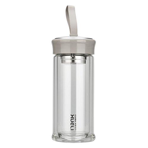 Test de fuite hydrates d'eau verre bouteille 32oz passe BPA marqué avec de l'acier inoxydable de silicone et 2 bouchons Eco friendly (gris)