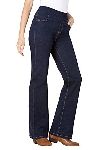 Woman Within Women's Plus Size Petite Pull-On Bootcut Jean - 32 WP, Indigo Gray