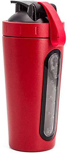 XUEYH Isolierung Thermoskanne Outdoor Sports Fitness-Shake Cup, Sport-Wasser-Flasche Diät-Fitness Workout Flask,Rot