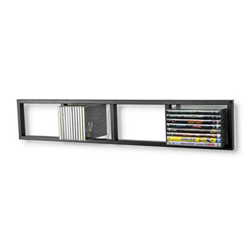You-Have-Space Modern Wall Mount Cd DVD Media Rack Storage Metal Shelf Organizer (Black)