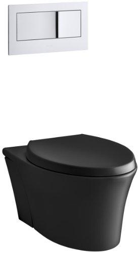 KOHLER K-6303-7 Veil Elongated Dual-Flush Wall-Hung Toilet, Black, 1-Piece
